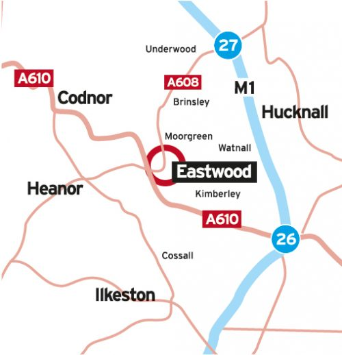 Road Map of Eastwood and the surrounding area