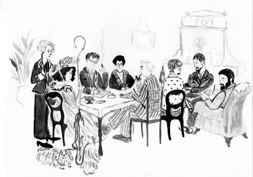 D.H. Lawrence and contemporaries at the dinner table
