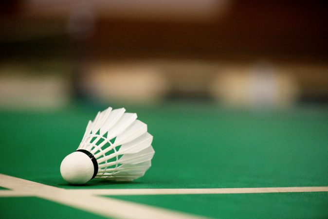 A shuttlecock on a badminton court